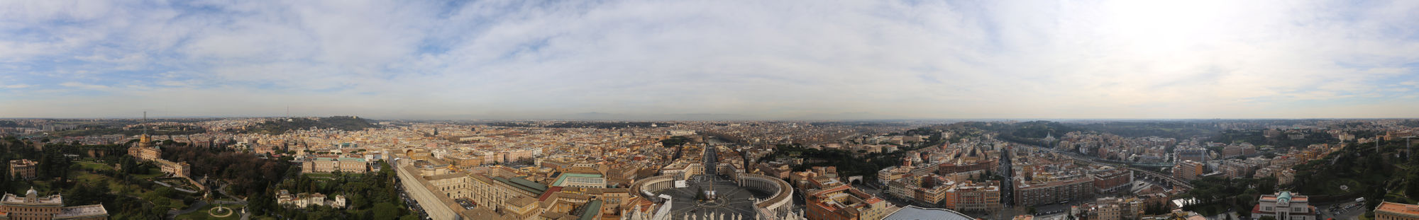 Panorama view from the dome of the St. Peter's Basilica